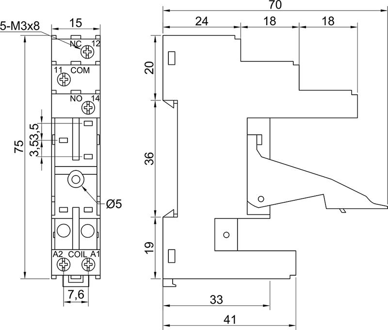 Колодки монтажные серий PYF-012BE/3