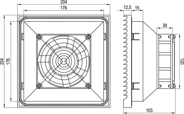 Габаритные размеры вентилятора KIPVENT-300.01.230