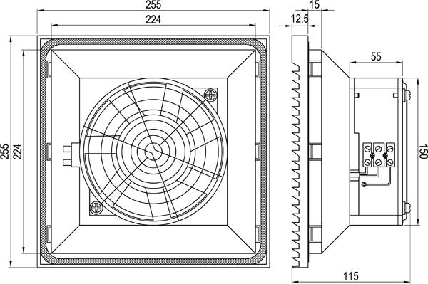 Габаритные размеры вентилятора KIPVENT-400.01.230