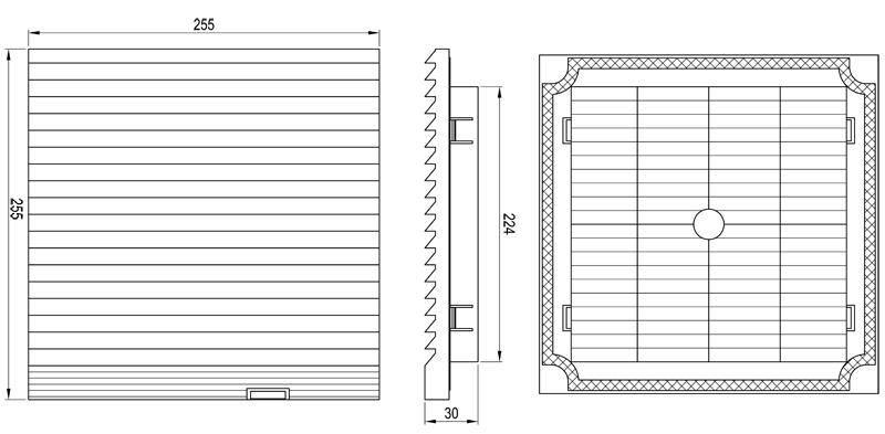 Габаритные размеры впускной решетки KIPVENT-400.01.300