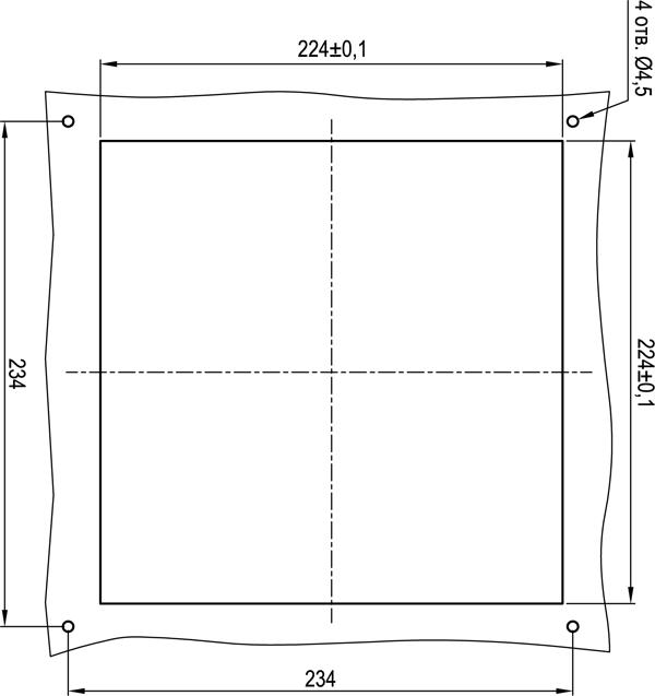Габаритные размеры выреза под установку решетки KIPVENT-400