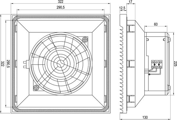 Габаритные размеры вентилятора KIPVENT-500.01.230