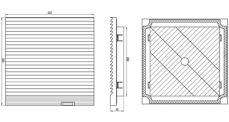 Габаритные размеры впускной решетки KIPVENT-500.01.300