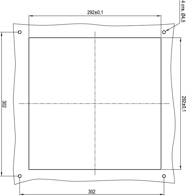 Габаритные размеры выреза под установку решетки KIPVENT-500